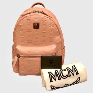 MCM Ottomar Logo Pink Leather Backpack
